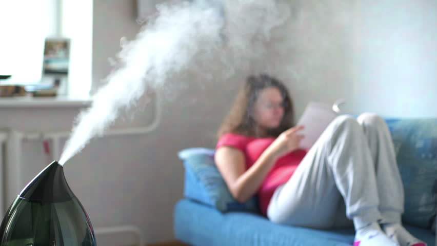 Woman reading book on the background of working humidifier. | Shutterstock HD Video #24805142