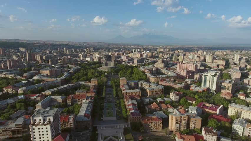 Aerial Video Flyover of Down Town Yerevan, Armenia