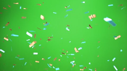 Real Confetti falling  soft and beautiful in the colors light blue and gold with  Green screen for party and celebrations