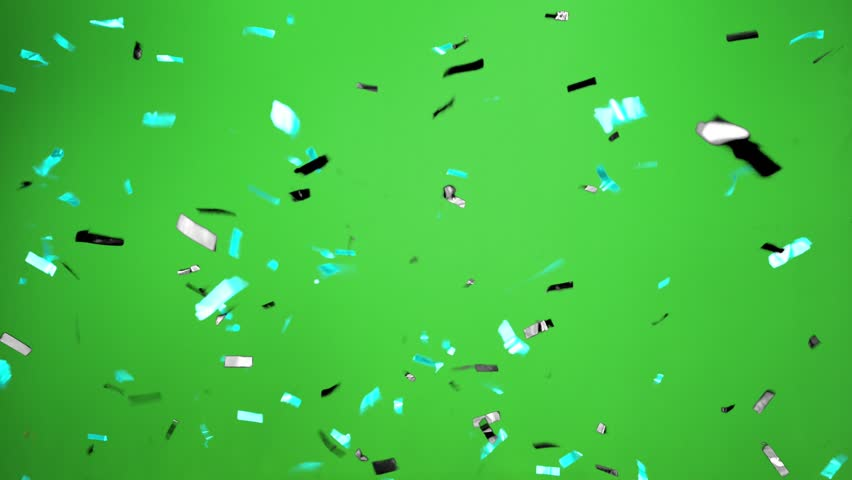 Real Confetti falling  soft and beautiful in the colors black and cyan and pink with  Green screen for party and celebrations | Shutterstock HD Video #24916382