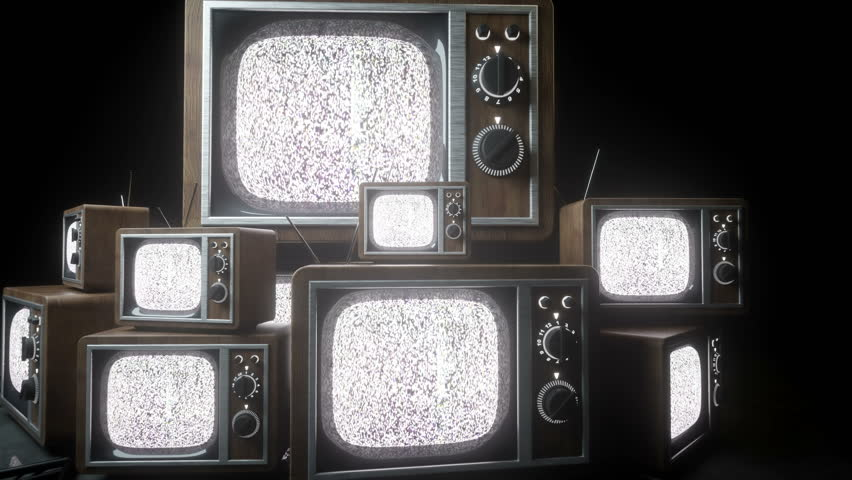 Heaps of retro, antique tv in dark room. Noise tv. Realistic 4k animation. | Shutterstock HD Video #24975032