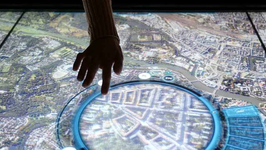 WROCLAW, POLAND - MAR 18, 2017: Open day in Hydropolis museum of water. Woman Type Slide An Educational Geographical Multimedia Cognitive Map Display
