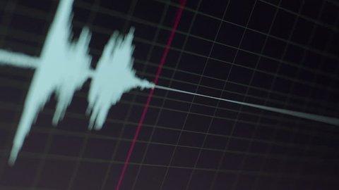 Audio specturm green colour - Computer screen - Recording studio