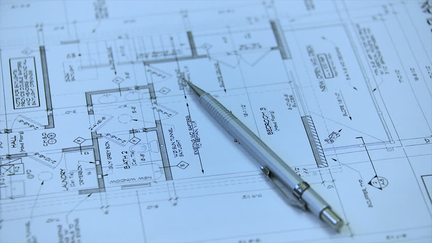 Architectural blueprints stock footage video 6588503 shutterstock architectural blueprint of contemporary residential home drawings of new three story house architects plans malvernweather Gallery