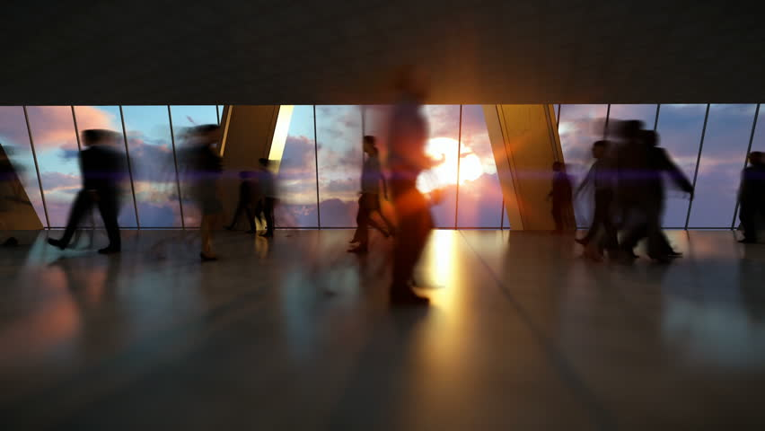 Business People Silhouettes Walking Commuter, Rear View City Skyline at Sunset, Timelapse
