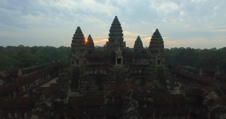 Aerial Angkor Wat Temple Sunrise #25026092