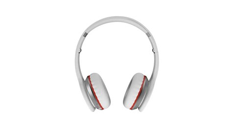 White wireless headphones isolated on white background 3d illustration render 360 degrees looped rotation.