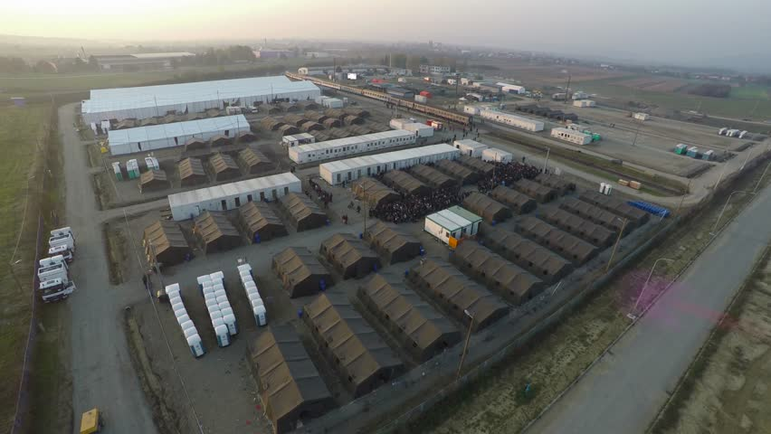 Refugees camp from dron, Syrian War. Exodus of middle east population. world problem. refugees leaving Syria going into Europe. refugees are from Syria, Iraq and Afghanistan. European refuges crisis,