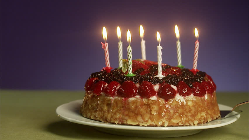 Birthday Cake With Burning Candles Stock Footage Video 2505482