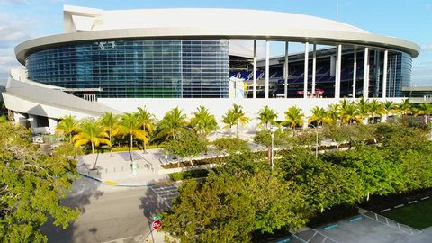 MIAMI, USA - MARCH 20, 2017: Aerial footage of Marlins Park Stadium home to the Florida Marlins Baseball Team