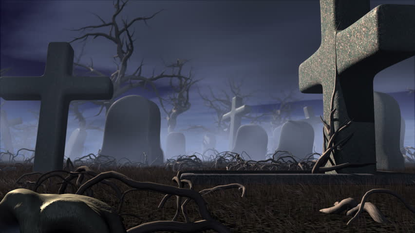 Halloween Night In A Gothic Cemetery Horror 3d Animation The Moon Transforming Into Jack O Lantern Of Pumpkin Stock Footage Video 2506832