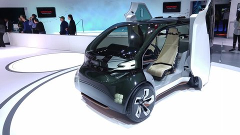 LAS VEGAS - January 08, 2017: Honda Neuv electric ride-sharing concept car at Honda booth at CES 2017 consumer electronics trade show. 4K UHD