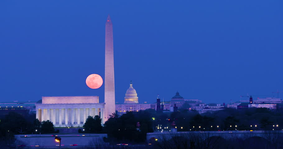 Full Moon Rise over Washington DC - The Lincoln Memorial, The Washington Monument and The US Capitol Building serve as a fine foreground for a beautiful evening. Yes, it's real. Shot at 4K 4096 x 2160