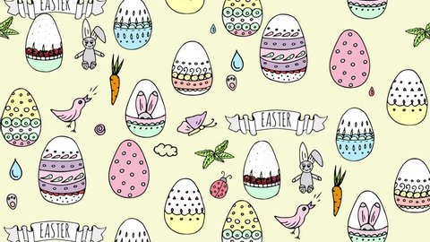Hand drawn doodle animation with cute colorful Easter eggs, spring bunny, rabbit, bird, basket, carrot, butterfly, footprint, hunting eggs, hearts. Cartoon decoration elements on yellow background