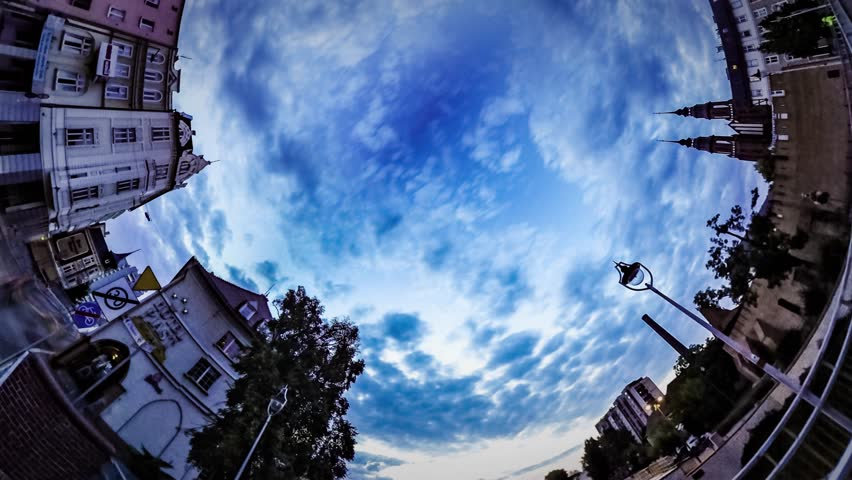 360 Degree Rabbit Hole Planet Timelapse. Double Bridge in Densely Populated Old City Over River at Dusk. Excursion by Old Opole Streets. City-Planet Opole, Old Vintage Buildings Along the Road. Its | Shutterstock HD Video #25138952