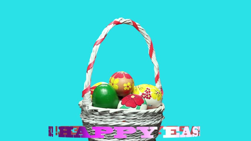 Stock video clip of easter bunny in an easter basket shutterstock the easter basket with hand painted eggs turns and around it the inscription happy easter rotates negle Images