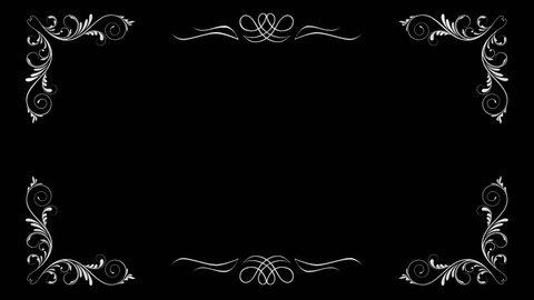 Vintage decorative floral frame. Alpha matte. Perfect for wedding, epic or retro movie