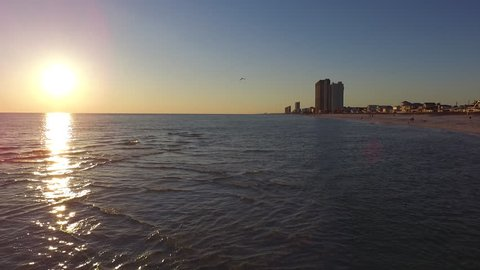 Sunset over the Gulf. Drone