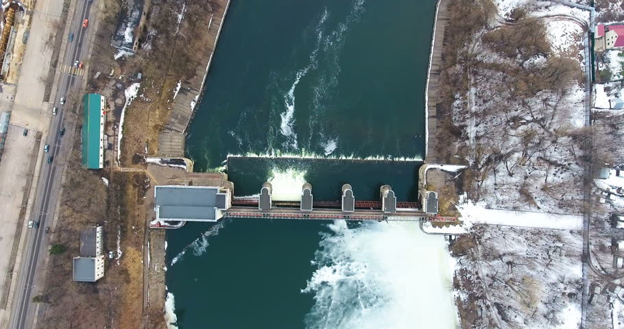 Water release from dam. Aerial view from copter, drone. #25223003