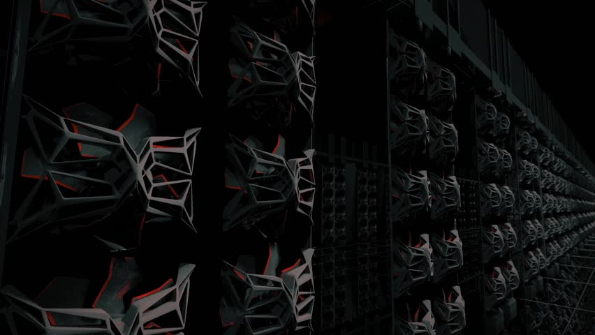 computer servers in a data center hd stock footage clip
