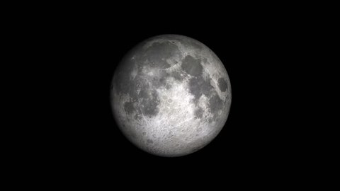 Realistic animation of the Moon showing its various phases, as light hits the surface. Black background. Seamlessly loopable animation. Moon texture is public domain provided by NASA.
