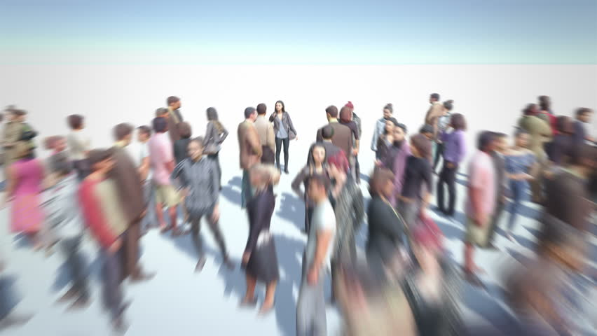 Happy People. Thousands of People formed Smiley Icon. Crowd flight over. Motion Blur. Camera zoom out.