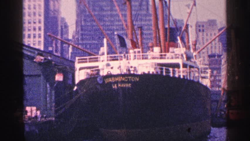 MINNESOTA 1964: ships waiting in the harbor to leave,surrounded by tall buildings. | Shutterstock HD Video #25266242
