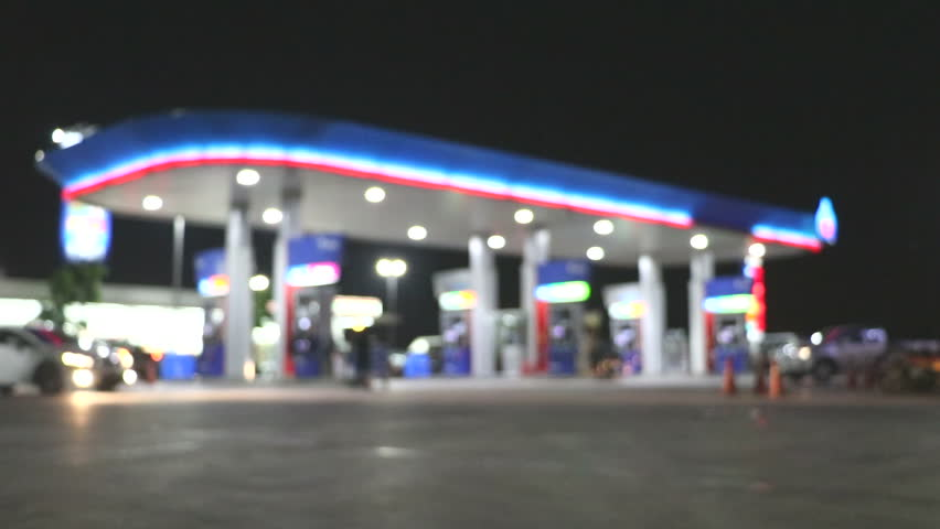 The Atmosphere Lighting Blurred in Gas station at night  | Shutterstock HD Video #25311572