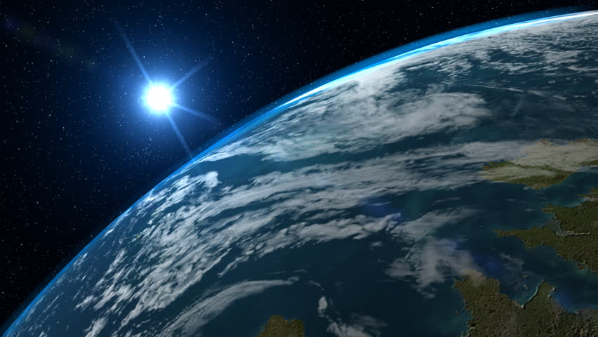 View of earth from space with moon and sunlight in background high a big filmic blue planet earth with sun and stars in background this clip voltagebd Choice Image