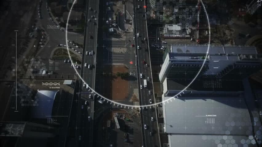 Digital composite video of Ariel target over the city   Shutterstock HD Video #25319492