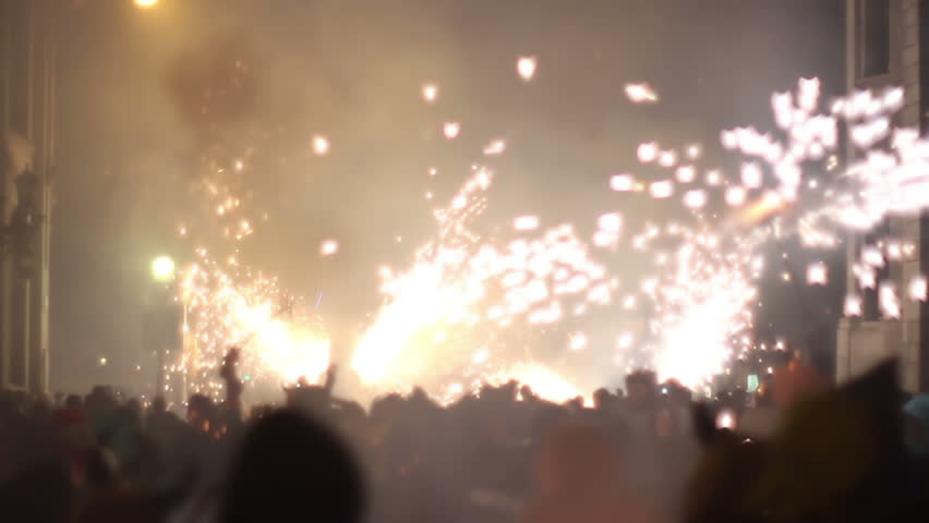 The correfoc, of fire run during the la merce festival in Barcelona. 10 September 2011, Barcelona, Spain