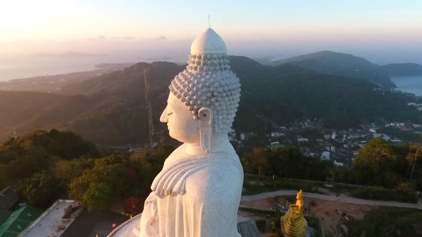 Amazing Sunrise at White Big Buddha Statue Viewpoint. HD Aerial View. Phuket, Thailand.