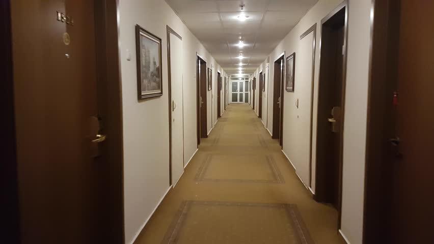 Hospital Corridor Lighting Design: Long Corridor With Ceiling Lights Stock Footage Video