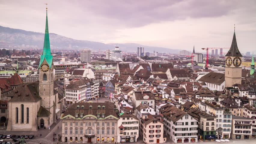 Day famous zurich fraumunster church grossmunster view point panorama 4k time lapse switzerland | Shutterstock HD Video #25353512