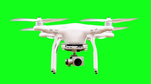 Green Screen Drone Hovering with Rotating Rotors and Camera from Take-Off to Touch-Down