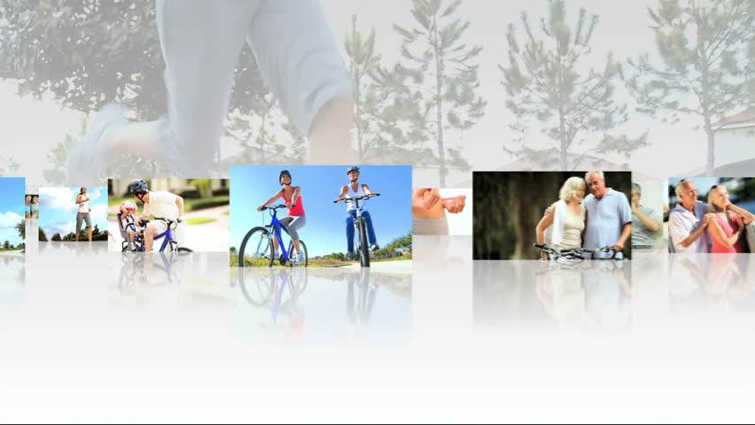 Montage 3D tablet images of seniors and families enjoying a healthy lifestyle with indoor and outdoor sport and exercise