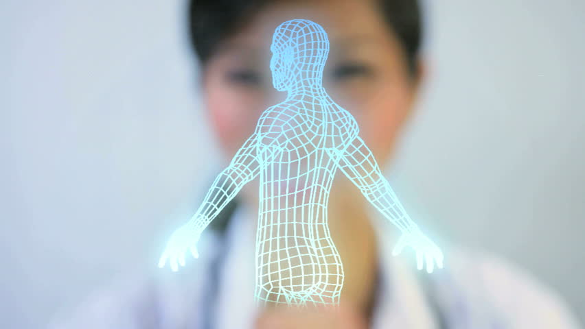 Montage Asian Chinese doctor using 3D virtual display cyberspace running man