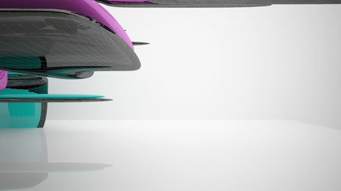 Abstract architectural background of the polygons. Concept of organic architecture.3D animation and rendering. Part 2