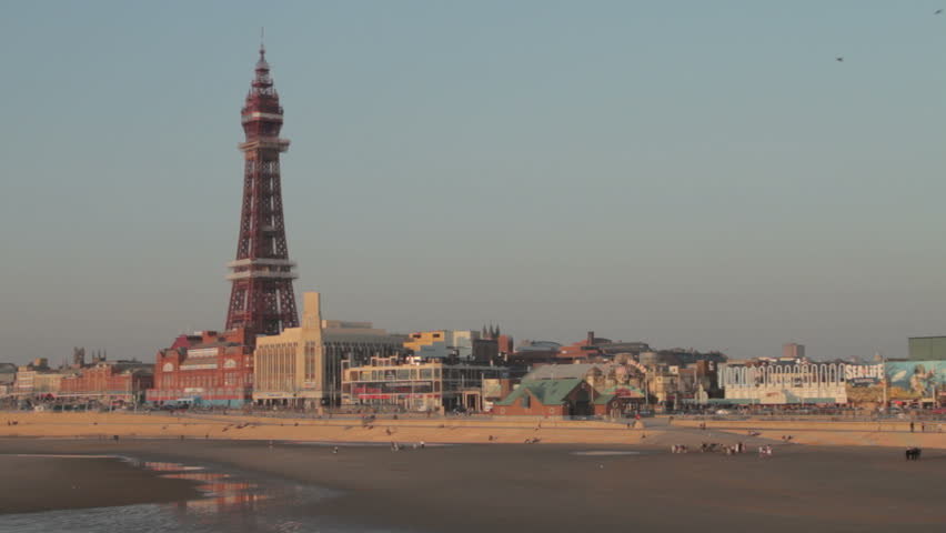 Blackpool tower and Golden Mile with beach in foreground