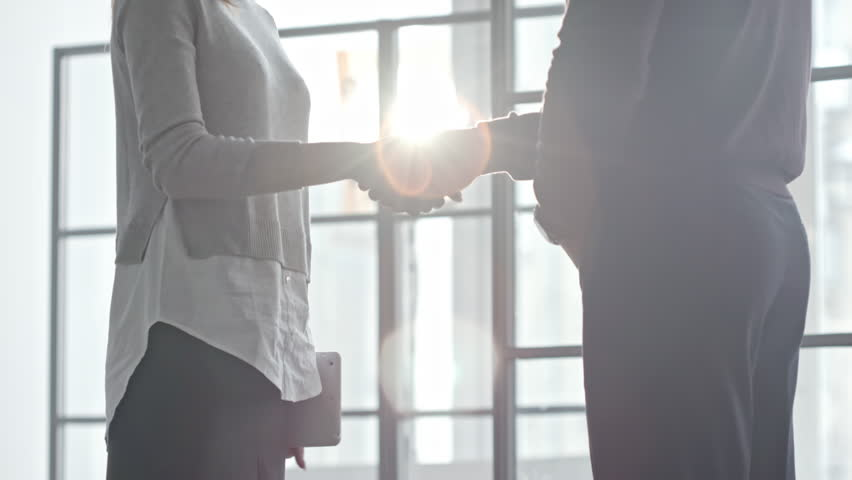 Tilt up of businesswoman with tablet shaking hands with male colleague and discussing work before window on sunny day   Shutterstock HD Video #25391582