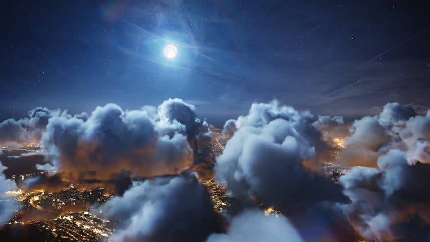 Flying over the deep night timelapse clouds with moon light. Seamlessly looped animation. Flight through moving cloudscape over night city lights. Perfect for cinema, background, digital composition. #25406702