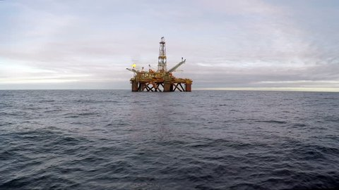 Offshore oil installation on the North sea during day