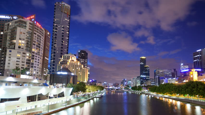 MELBOURNE - JAN 4: View over Southbank in Melbourne with panning timelapse effect on January 4, 2012 in Melbourne, Australia