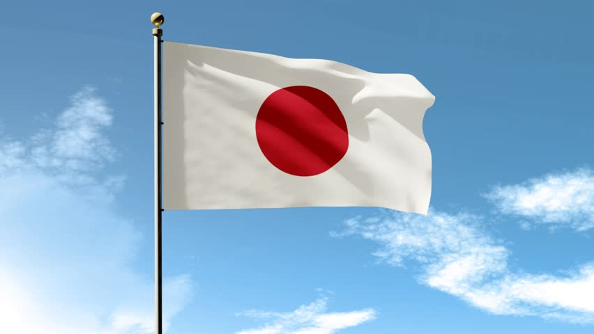 Japan Xxix Moving: Flag Of Japan Waving In The Wind Stock Footage Video