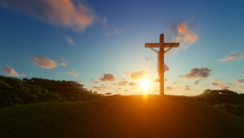 Jesus on cross over sunset, concept for religion #25472252