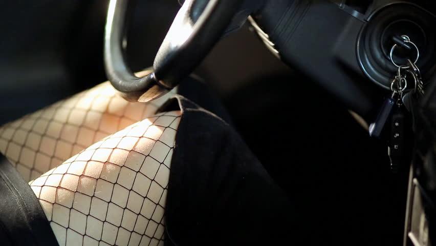 fisnet pantyhose lady starting car with key