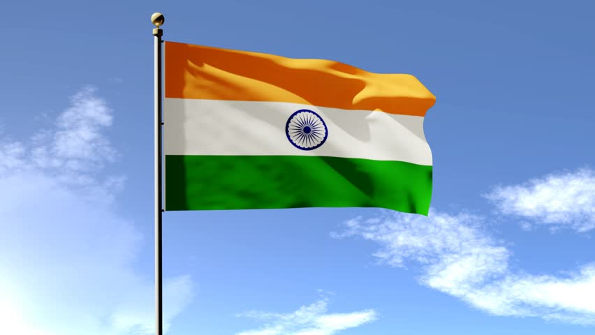 Flower With Indian Flag Hd: Flag Of India Sky Background Stock Footage Video 6660956
