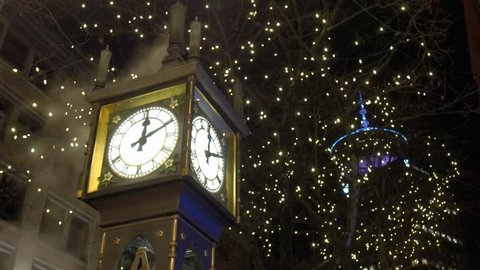 Close up night view of Steam Clock in Gastown in Vancouver BC British Columbia Canada