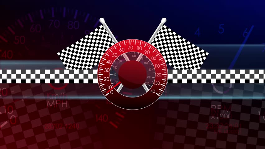 Loop-Ready Racing Flags Waving Speedometer Seamless Loop Motion Background
