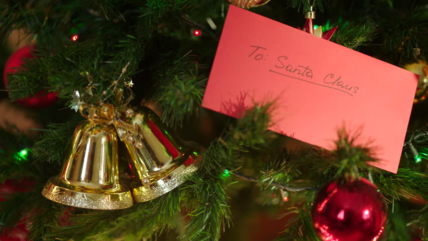 Camera Christmas Tree Ornament Part - 40: A Letter To Santa Claus On Christmas Tree With Decoration - 4K Stock Video  Clip